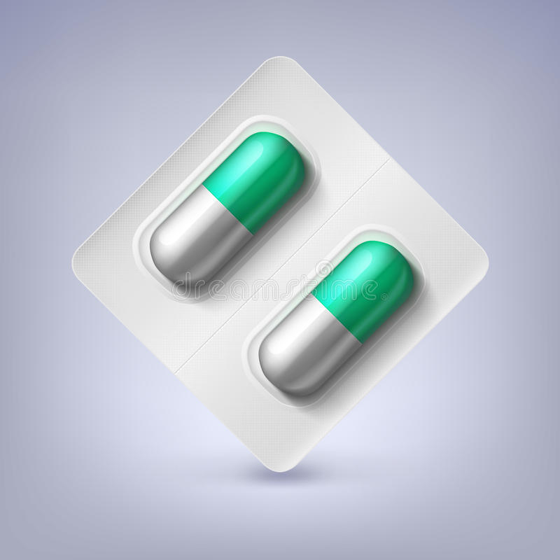 Green and white capsules in a blister pack. Green and white capsules, pill in a blister pack royalty free illustration