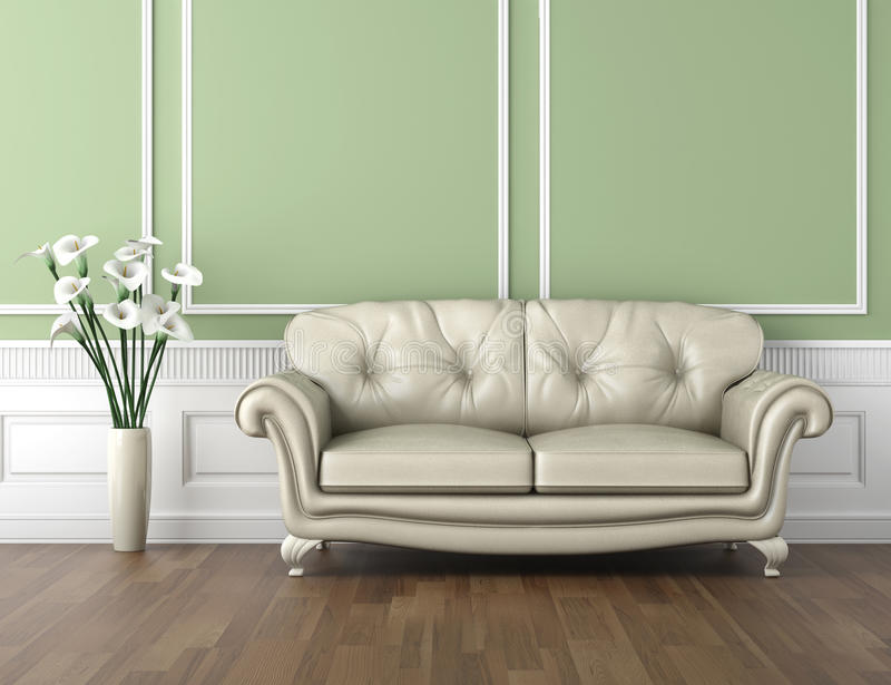 Green and white classic interior royalty free illustration