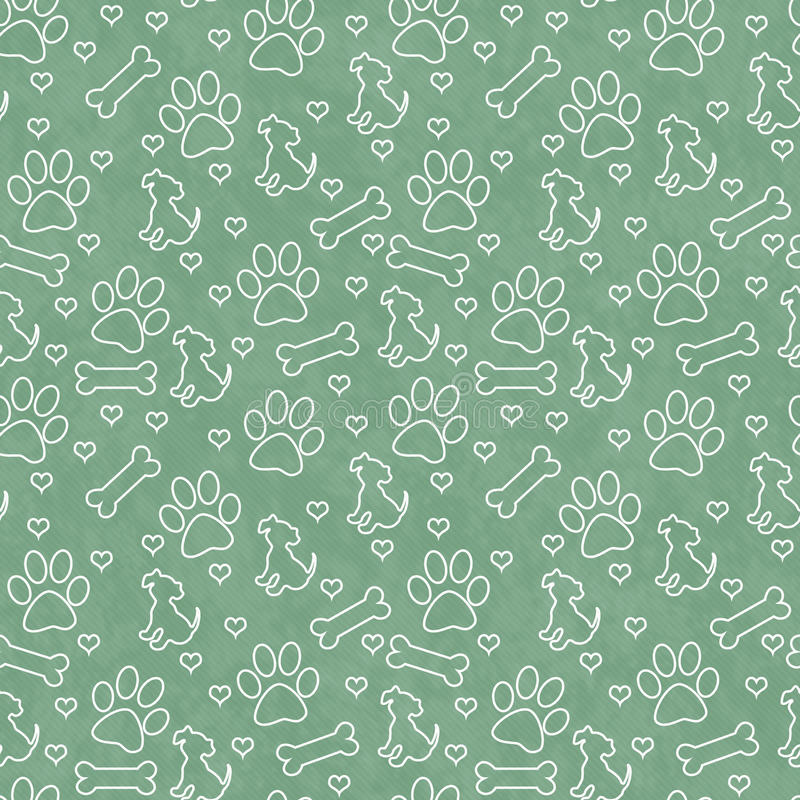 Green and White Doggy Tile Pattern Repeat Background. Green and White Dog Paw Prints, Puppy, Bone and Hearts Tile Pattern Repeat Background that is seamless and royalty free stock image