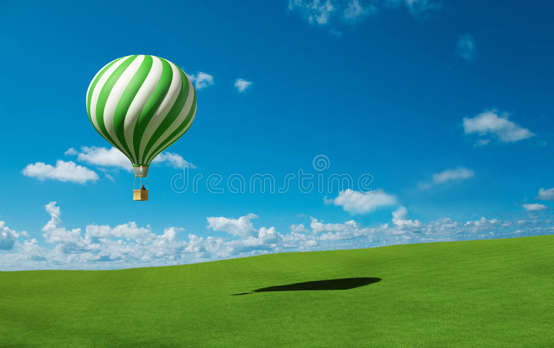 Green-white Hot Air Balloon in the blue sky stock illustration