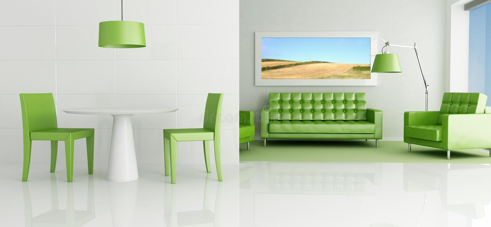 Green and white living room royalty free stock photos