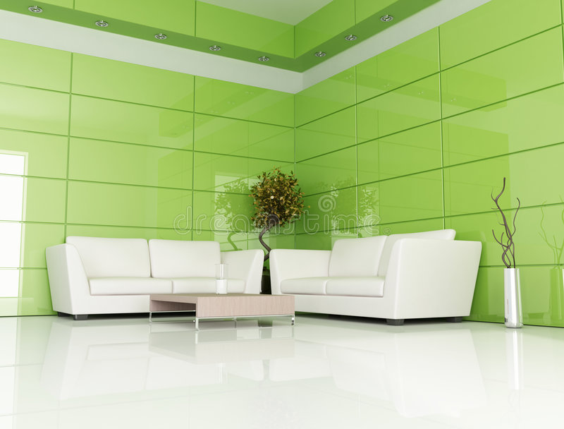 Green and white living room royalty free illustration