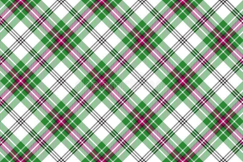 Green white pink diagonal tartan plaid seamless background stock illustration