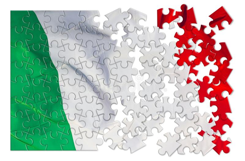 Green, white and red italian flag - concept image in jigsaw puzzle shape royalty free stock photography