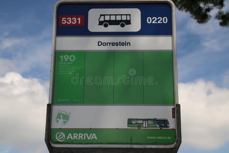 Green and white regional bus stop Dorrestein from Arriva between Gouda and Rotterdam in Nieuwerkerk aan den IJssel stock image