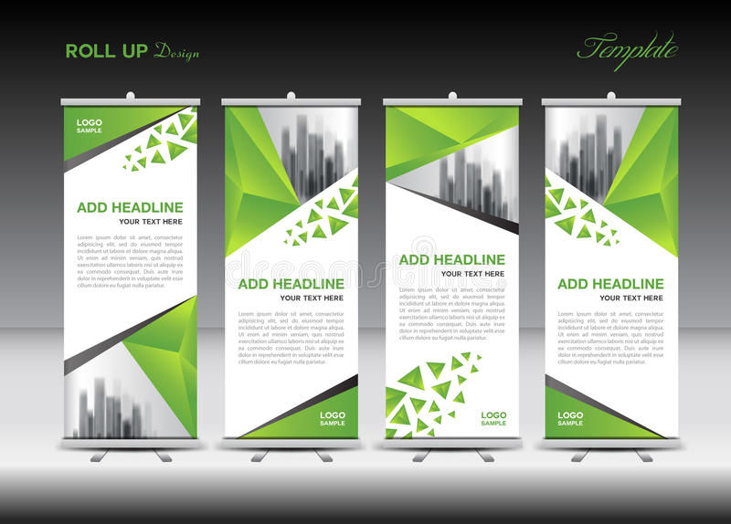 green and white roll up banner template design stock vector