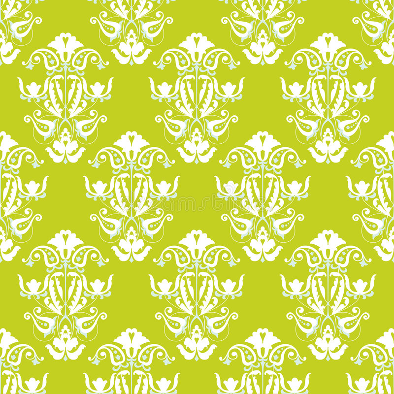 Green and white seamless vector wallpaper stock illustration