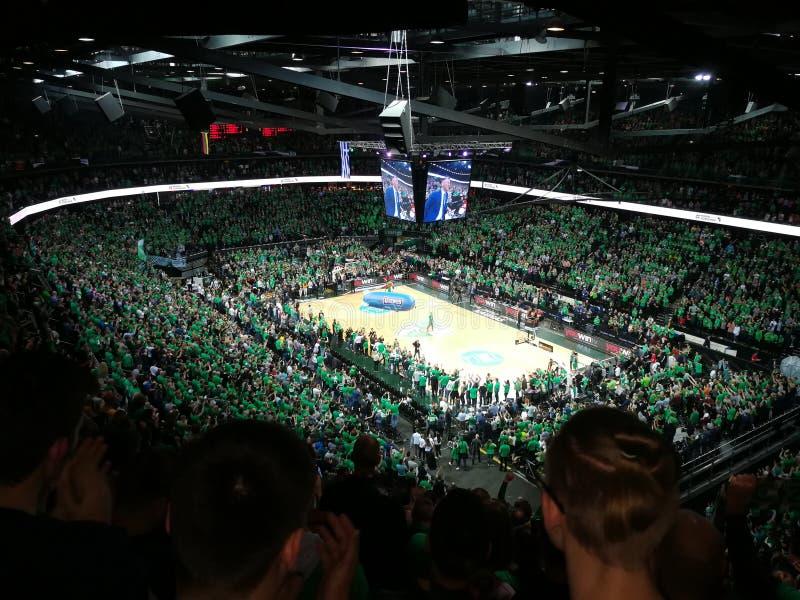Green White Sports fans Zalgiris royalty free stock photo