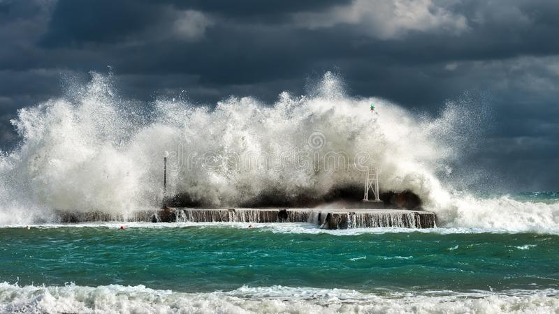Green and White Tidal Waves stock photography