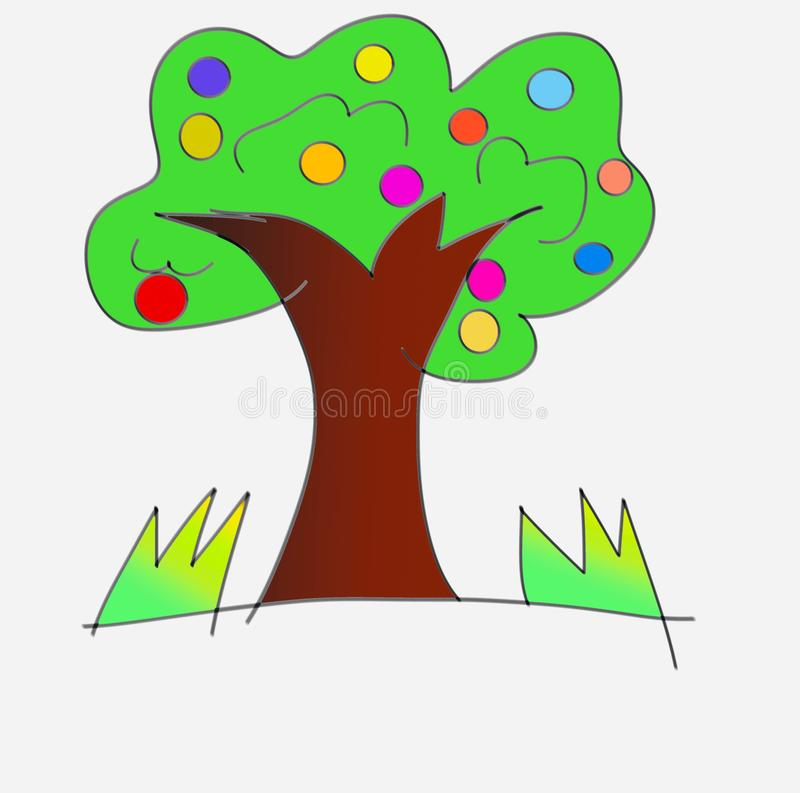 Green, and white tree drawing on a white background stock illustration