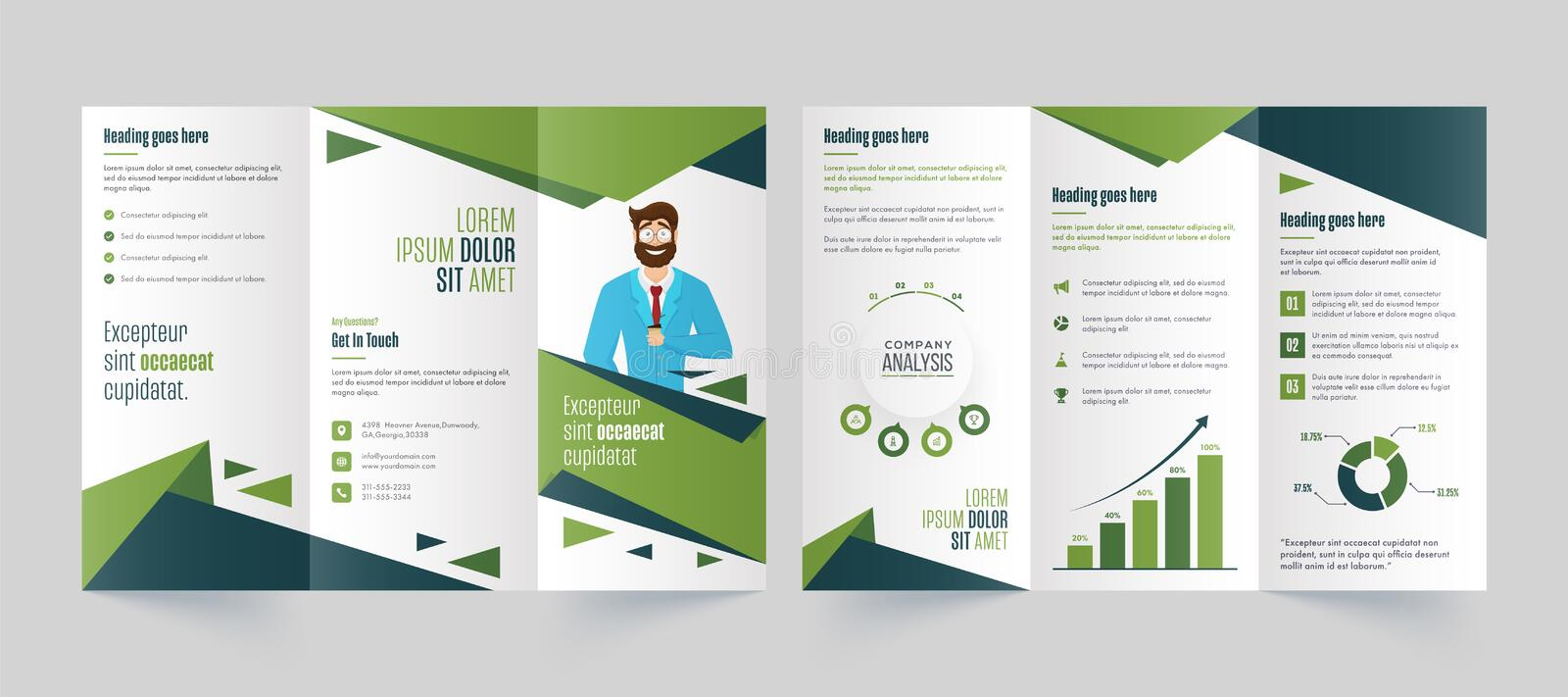 Green and White Tri-Fold Brochure, Leaflet, Template Design for Business 向量例证