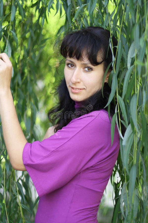 Download The Green Willow And The Woman Stock Photo - Image: 11011076