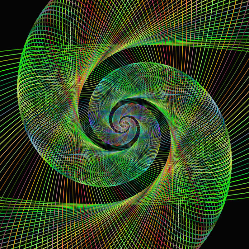 Green wired fractal spiral design background stock illustration