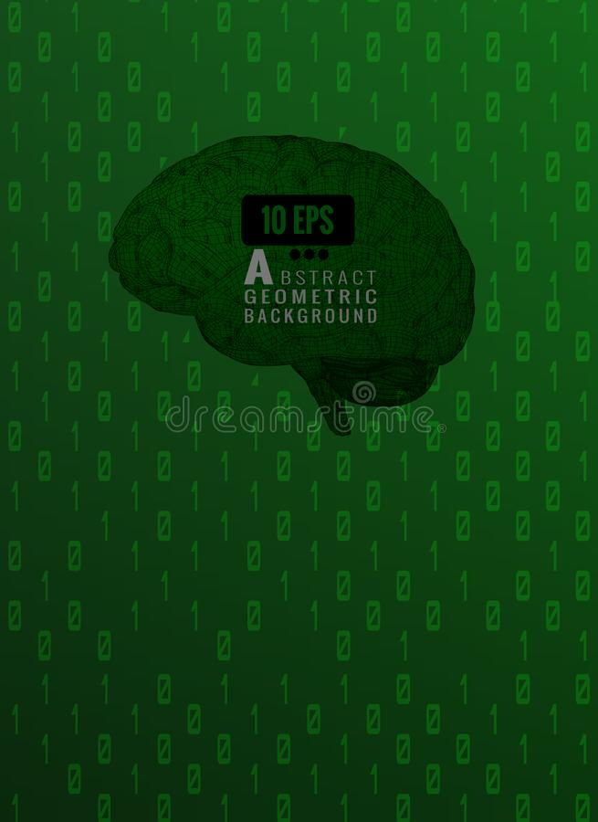 Green wireframe brain with binary numeral text BG stock illustration