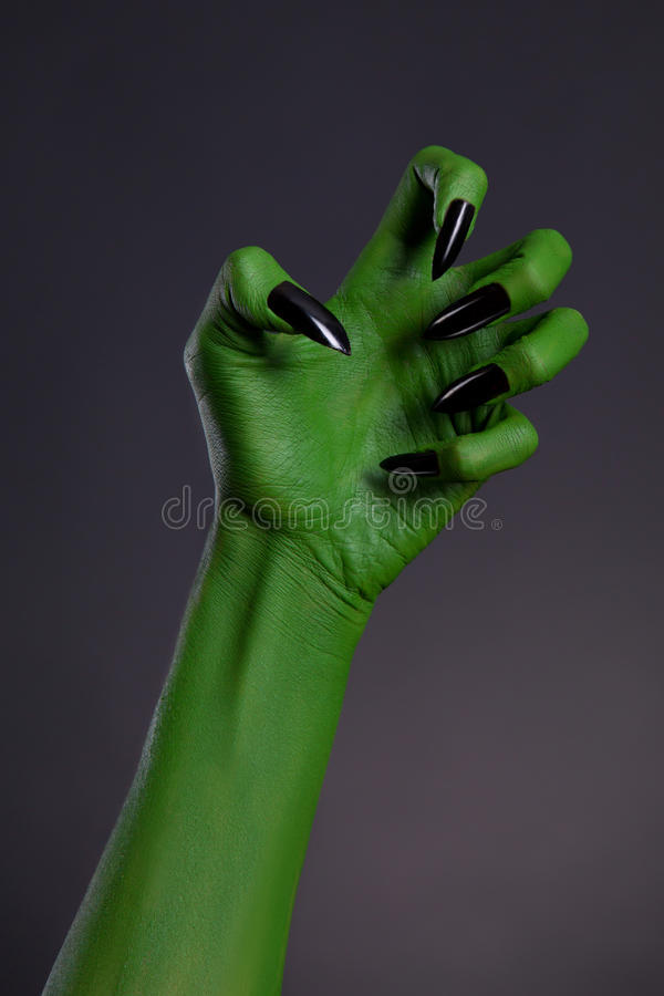 Green Witch Hand With Sharp Black Nails, Real Body-art ...
