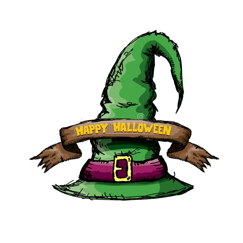 Green witch hat on white. Witch hat on white. vector halloween doodle art green wizard hat royalty free illustration