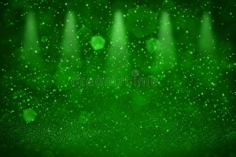 Green wonderful brilliant glitter lights defocused stage spotlights bokeh abstract background with sparks fly, holiday mockup. Green wonderful brilliant abstract stock illustration