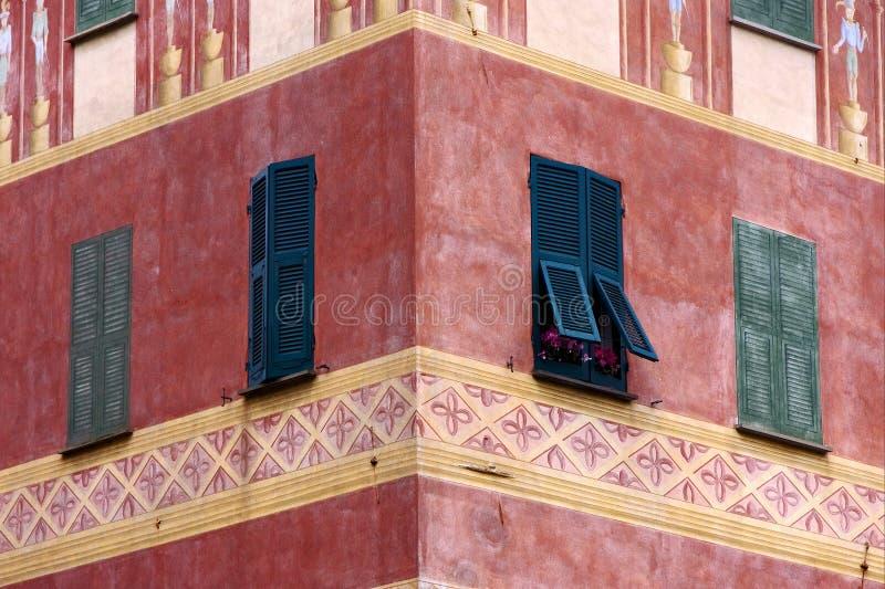 Green wood venetian blind in chiavari stock photography