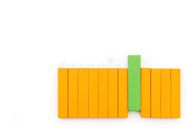 Green wooden block arrange with make a difference, outstanding performance concept stock photo