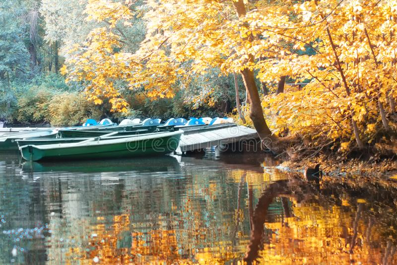 Green wooden boats at the old pier on the lake cut yellow trees in autumn. Green wooden boats at the old pier on the lake among the yellow and green trees in royalty free stock photography