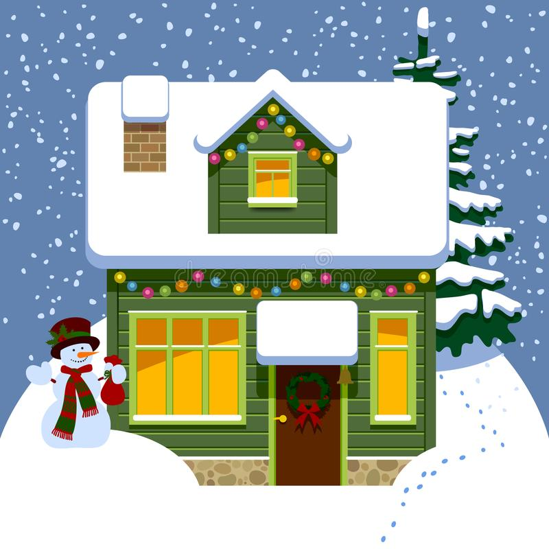 Green wooden christmas house in winter covered by snow vector illustration