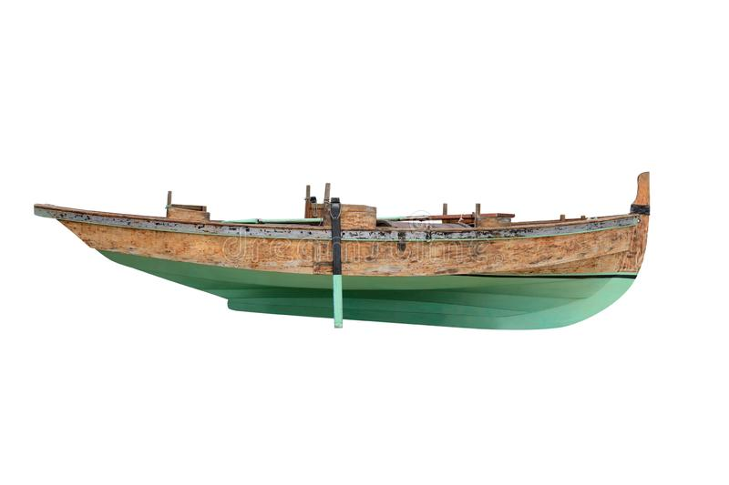 Green wooden fishing boat isolated on white background. Image of green wooden fishing boat isolated on white background royalty free stock photography