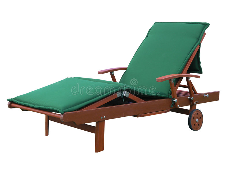 Green Wooden Lounger royalty free stock image