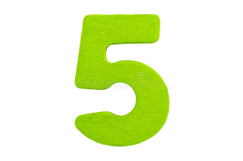 Green wooden number five without shadow isolated on a white background. royalty free stock photo