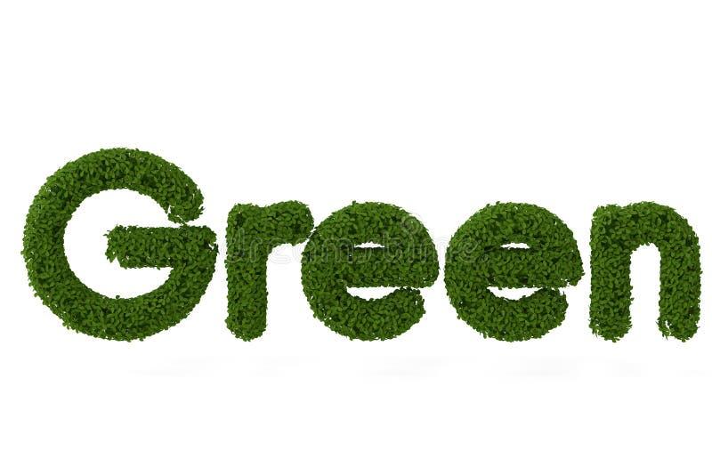 Green words composed of leaves.3D illustration. stock illustration