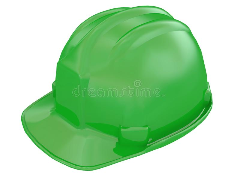 Green worker helmet of a construction site on a white background 3d rendering. Green worker helmet of a construction site on a white background vector illustration