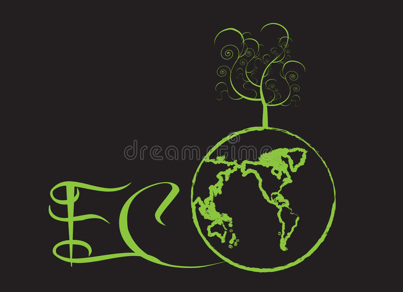 Green world. Symbol of ecology and nature, global warming vector illustration