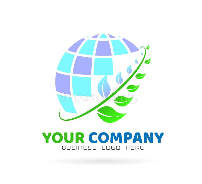 Green world logo with leaf branch, icon element on white background. Globe logo and leafs icon element isolated over white background for your company or any stock illustration