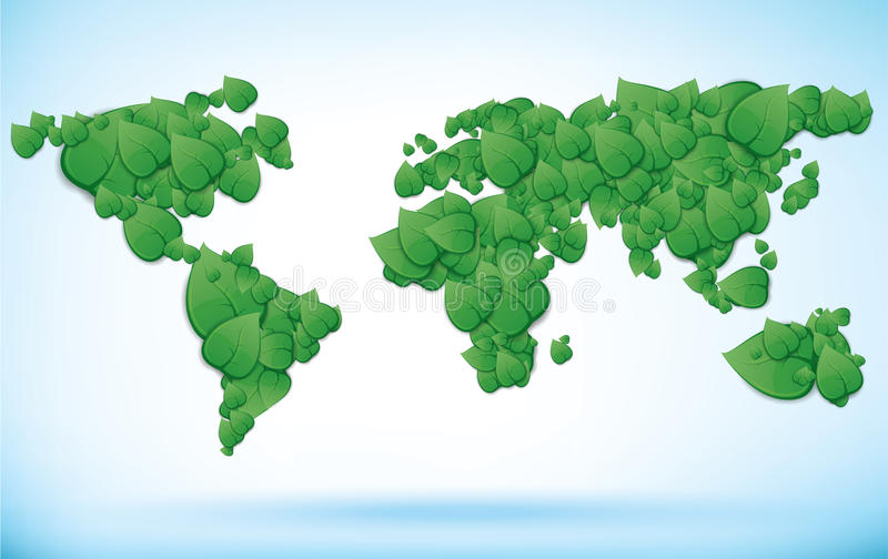 Green world map with leaves