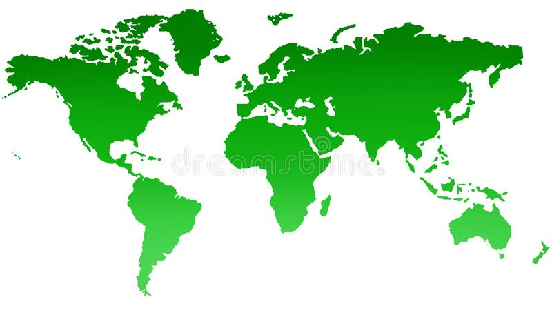 Green world map on white background stock illustration