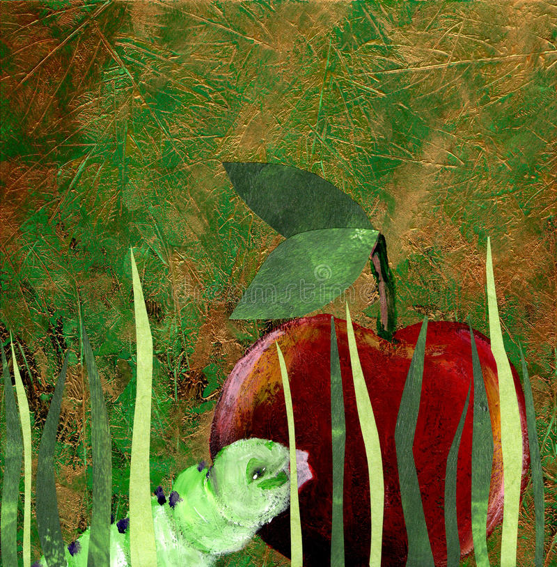 Download Green worm and red apple stock illustration. Image of nature - 20707136