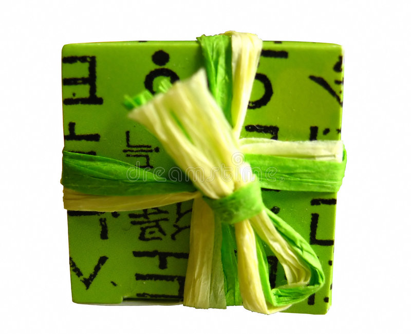 Download Green wrapped gift box stock image. Image of natural, present - 41079