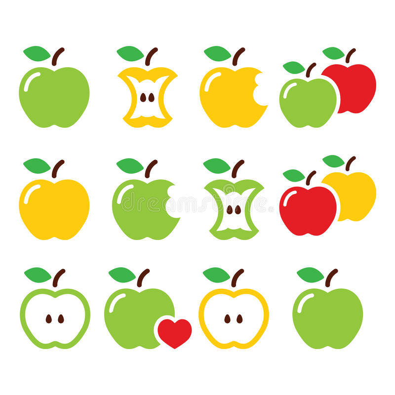 Green and yellow apple, apple core, bitten, half vector icons. Vector icons set of apples isolated on white stock illustration