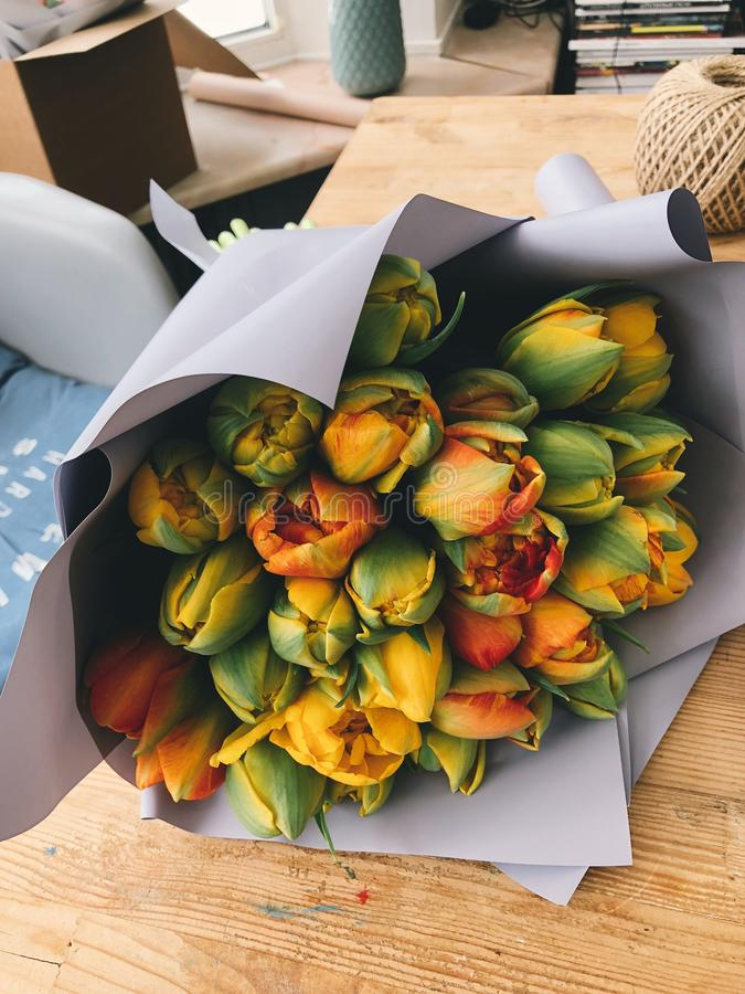 Green and Yellow Artificial Flower Bouquet royalty free stock photography