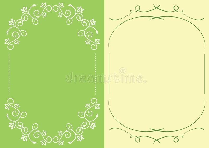 Green and yellow backgrounds with floral decorative frames - vector illustrations royalty free illustration