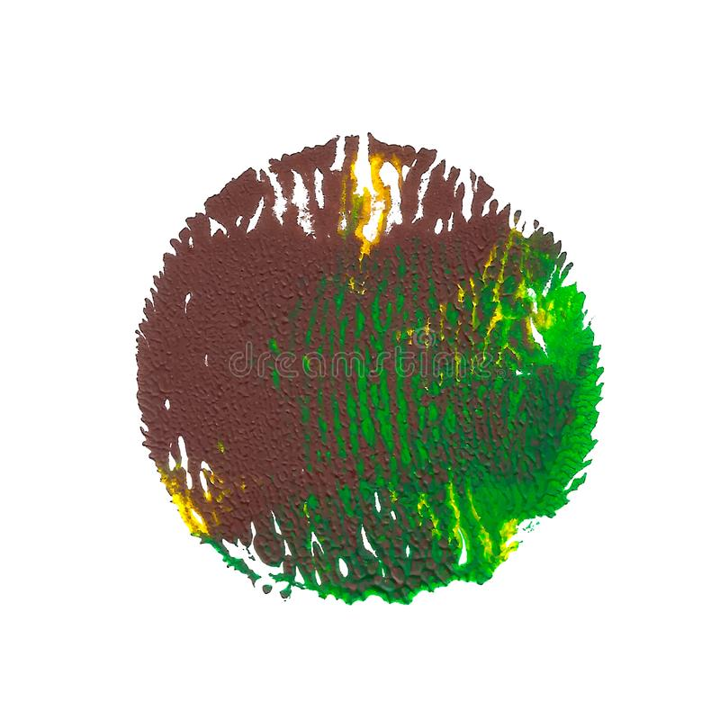 Green, yellow, brown acrylic paint abstract round spot stock illustration