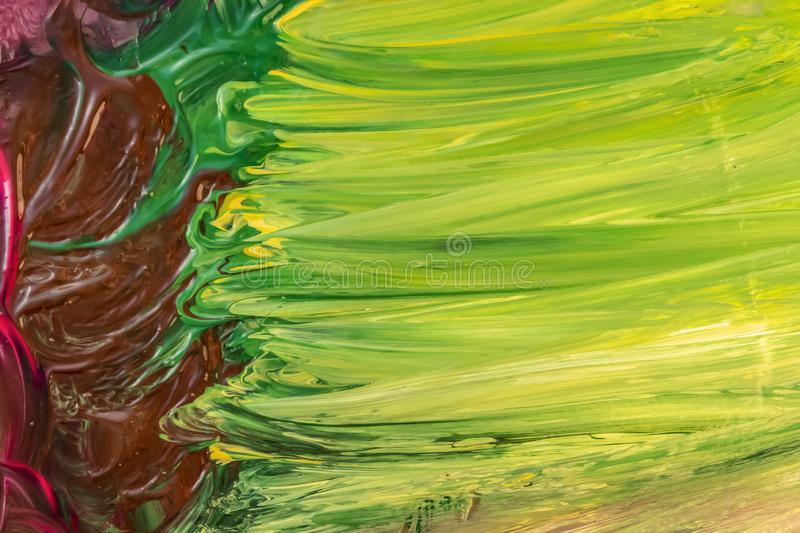 Green, yellow and brown acrylic paint brush strokes texture background. stock images