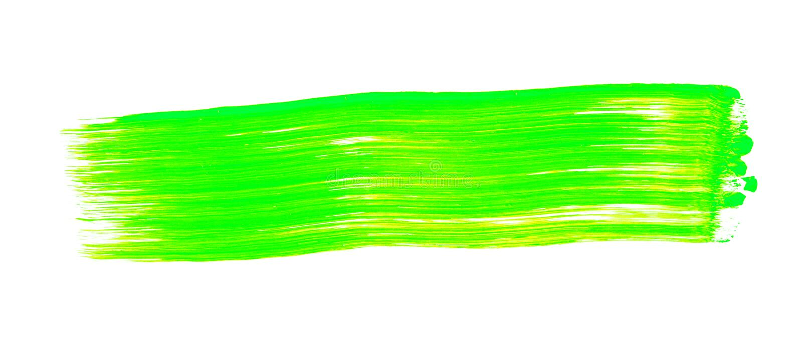 Green yellow brush stroke isolated on white background. Green yellow abstract stroke. Colorful watercolor brush stroke stock image