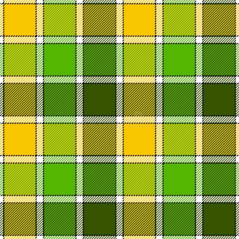 Green yellow check plaid seamless pattern stock illustration