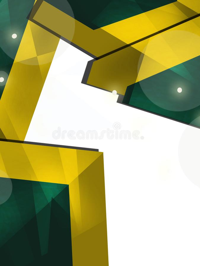 Green and yellow corners overlap abstract background. Vertical creative background vector illustration