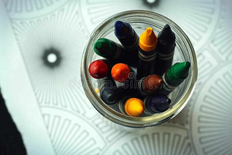 Download Green and Yellow Crayon stock image. Image of colours - 85126857