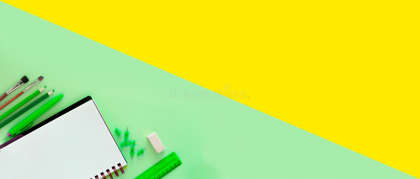 Green and yellow design template for Back to school. Office school supplies. Creative Idea of education for banners. Sale posters. royalty free stock photo
