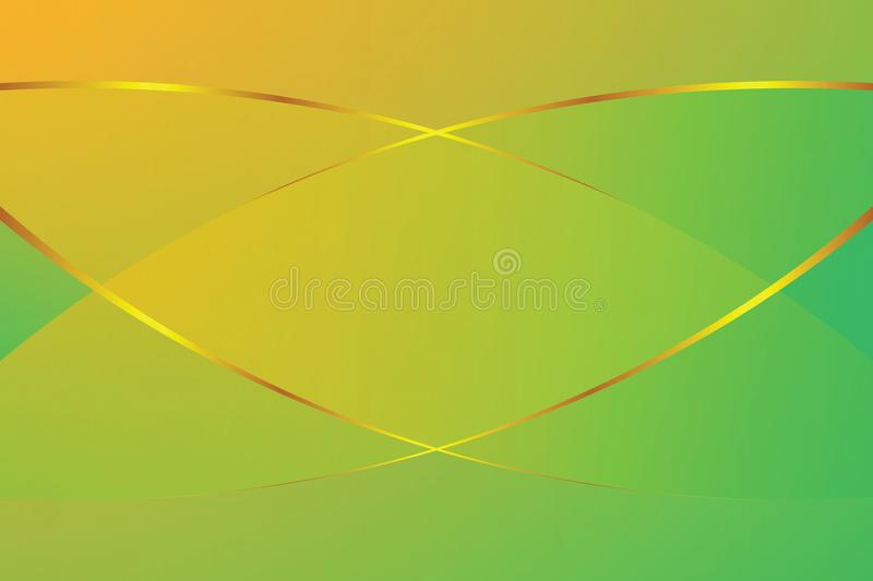 Green and yellow gradient color soft light and golden line graphic for cosmetics banner advertising luxury modern background stock illustration