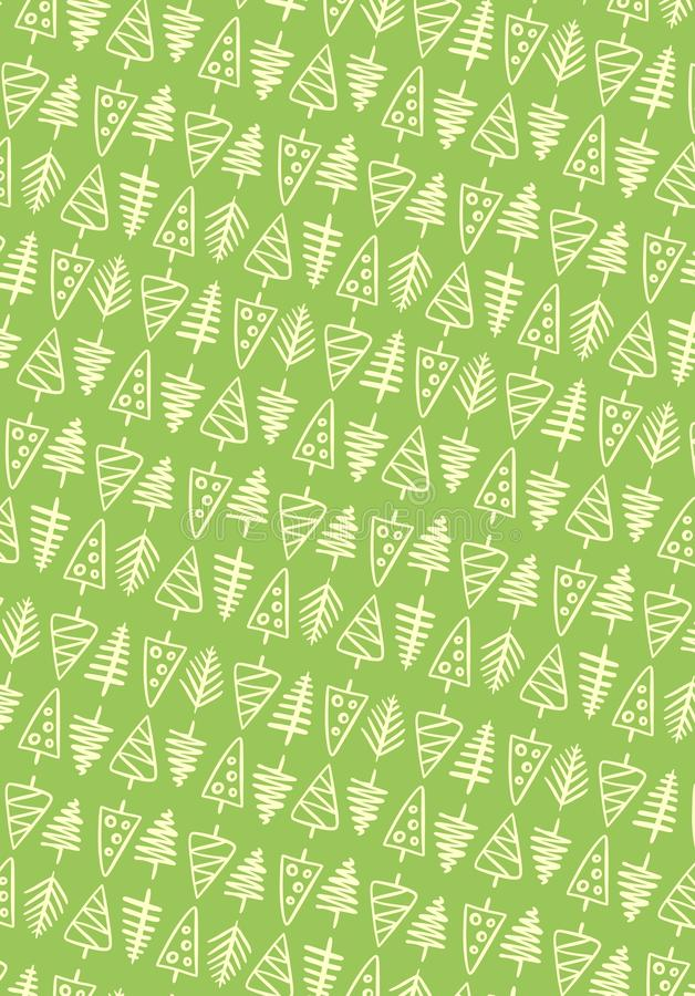 Green and yellow hand drawn doodle pattern of New year trees. Flat vector holiday illustration. Christmas postcard royalty free stock images