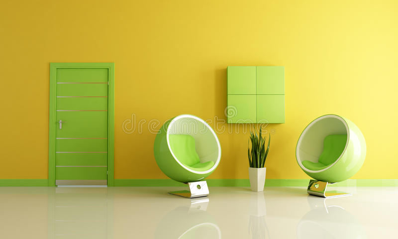 Green and yellow living room stock photo