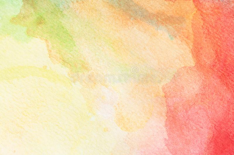 Abstract green, yellow, orange and red rose watercolor background. art hand paint royalty free stock photo